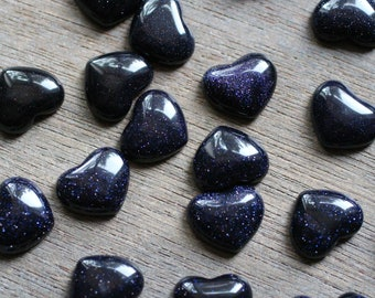 Blue Goldstone Small Stone Shaped Heart with Flat Back K260