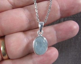 Aquamarine Sterling Silver Pendant with Stainless Steel Chain P69