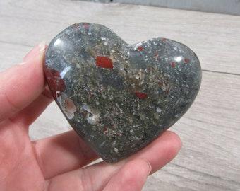 African Bloodstone Stone Heart 4.48 oz #5411 cc
