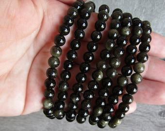 Sheen Obsidian 6 mm Round Bracelet Stretchy String G11