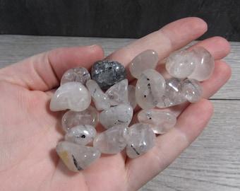 Tourmalinated Quartz Very Small Tumbled Stone T218