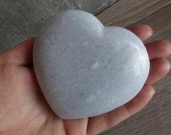 Blue Calcite Heart Large 9.9 ounces  #1437 cc