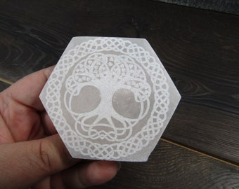 Selenite Etched Tree of Life Flat Hexagon Plate 3 inch plus SL41