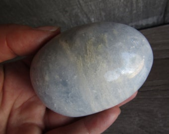Blue Calcite Large Palm Stone 6.5 ounce #9372w