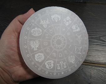Selenite Etched Zodiac Flat Round Plate 5 inch SL49