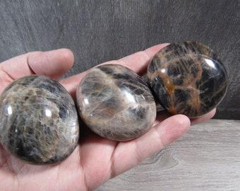 Black Moonstone Palm Stone Large E 102