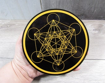 Obsidian Etched Metatron's Cube 6 inch SL  78
