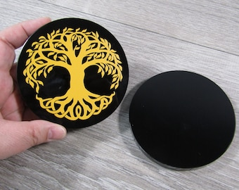 Obsidian Etched Tree of Life 4 inch SL 69