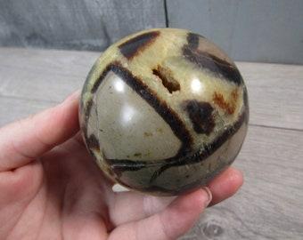Septarian Nodule, Calcite Barite Sphere 1 lb 1.44 oz 71 mm #4115 cc