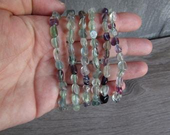 Fluorite Stretchy String Oval Bracelet G26