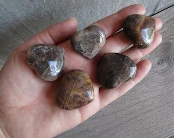 Black Moonstone Medium Shaped Heart K248