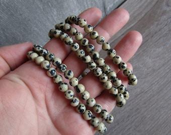Dalmatian Jasper 6 mm Round Stretchy String Bracelet G186
