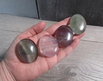 Fluorite Flat Oval Palm Stone Small E49