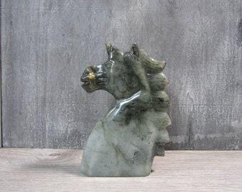 Labradorite Unicorn Stone Bust 1Lb 3.5 oz #6789 cc