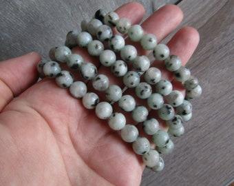 Sesame Kiwi Jasper 10 mm Round Stretchy String Bracelet G175