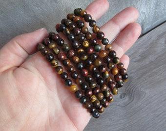 Multi Tiger Eye 6 mm Round Stretchy String Bracelet G82