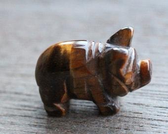 Tiger Eye Stone Pig Figurine F237