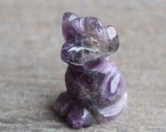 Amethyst Dog Stone Animal Figurine F88