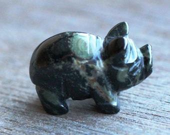 Kambaba Jasper Stone Pig Figurine F301