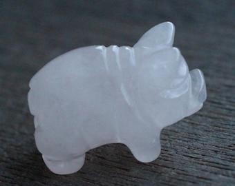 Rose Quartz Stone Pig Figurine F218