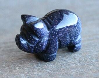 Blue Goldstone Pig Figurine F296