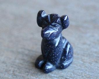 Blue Goldstone Stone Dog Figurine F178