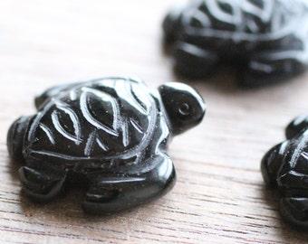 Obsidian Stone Sea Turtle Figurine F40