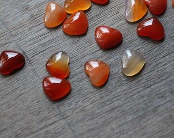 Carnelian Small Heart Stone with Flat Back K266