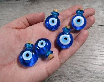 Evil Eye Glass Stash Bottle with Cork Lid Blue Q43