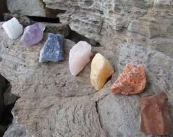 Large Chunky Chakra Set of 7 Rough Natural Stone Kit AB4