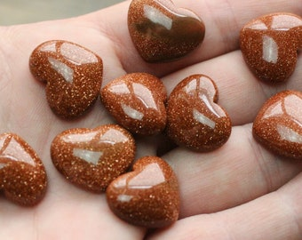 Goldstone Small Stone Shaped Heart with Flat Back K116