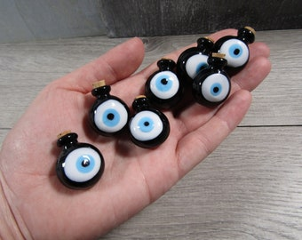 Evil Eye Glass Stash Bottle with Cork Lid Black Q45