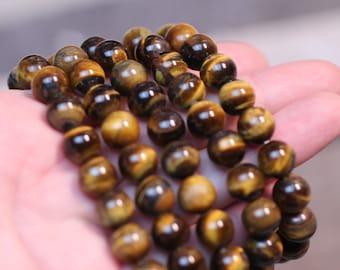 Tiger Eye 10 mm Round Stretchy String Bracelet G131