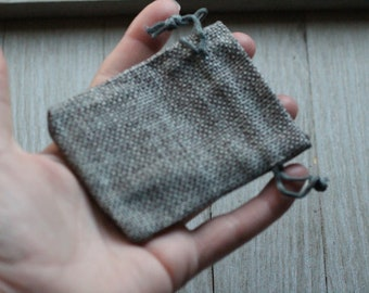 Grey Burlap Gift Gemstone Pouch 2.5 x 3.5 Inches Q8