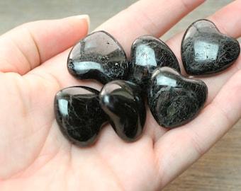 Black Tourmaline Stone Shaped Heart K23