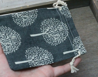 Grey Tree Burlap Gift Gemstone Pouch 5.25 x 3.75 Inches Q39