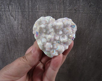 Angel Aura Quartz Heart Cluster 3.5 ounces # 8852 cc