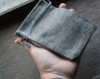 Grey Burlap Gift Gemstone Pouch 3.75 x 5.25 Inches Q28