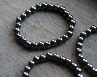 Hematite 8 mm Round Stretchy String Bracelet g77