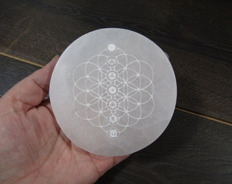 Selenite Etched Seed of Life Chakra Flat Round Plate 4 inch SL45