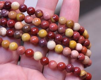 Mookaite Jasper Stretchy String 6 mm Round Bead Bracelet G120