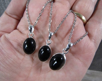 Onyx Sterling Silver Pendant with Stainless Steel Chain P73