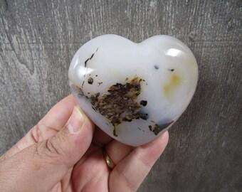 Dendritic Agate Heart 4.5 ounces #8930 cc