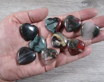SET of 10 African Bloodstone Flat Heart K368