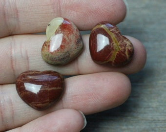 Red Jasper Small Heart Stone with Flat Back K263