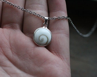 Shiva Shell Sterling Pendant with Stainless Steel Chain P49