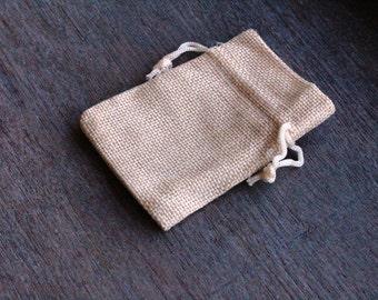 Burlap Gift Gemstone Pouch 2.5 x 3.5 Inches Q7