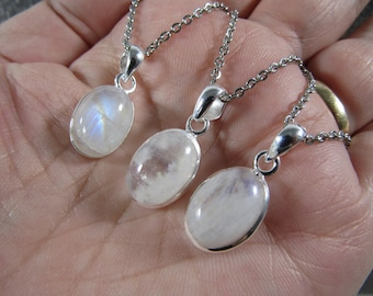 Moonstone Sterling Silver Pendant with Stainless Steel Chain P64