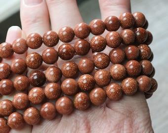 Goldstone 8 mm Round Stretchy String Bracelet G79