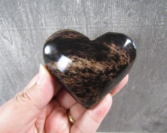Brown Sheen Obsidian Big Heart K18